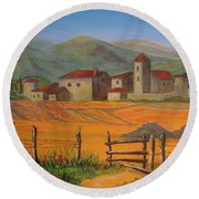 Tuscan Farm Round Beach Towel