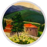 Round Beach Towel featuring the painting Tuscan Hills by Elise Palmigiani