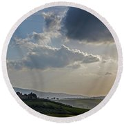 Round Beach Towel featuring the photograph Tuscan Hillside by Jean Haynes