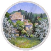 Tuscan  Hilltop Village Round Beach Towel