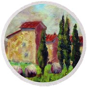 Tuscan House With Hay Round Beach Towel