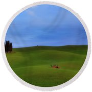 Tuscan Landscaping Round Beach Towel