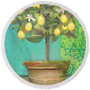 Tuscan Lemon Topiary - Damask Pattern 1 Round Beach Towel