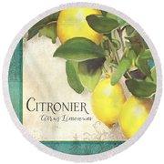 Tuscan Lemon Tree - Citronier Citrus Limonum Vintage Style Round Beach Towel