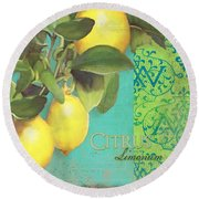 Tuscan Lemon Tree - Citrus Limonum Damask Round Beach Towel by Audrey Jeanne Roberts