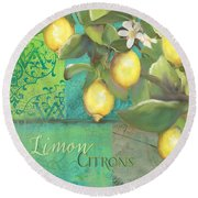 Tuscan Lemon Tree - Damask Pattern 2 Round Beach Towel
