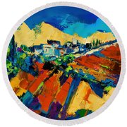 Round Beach Towel featuring the painting Tuscan Light by Elise Palmigiani