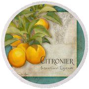 Tuscan Orange Tree - Citronier Aurantiaco Lignum Vintage Round Beach Towel