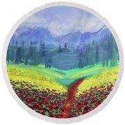 Tuscan Poppies Round Beach Towel