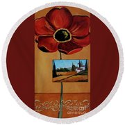 Tuscan Poppy Postcard Round Beach Towel