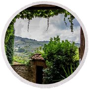 Tuscan Street View Round Beach Towel by Jean Haynes