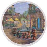 Beautiful Tuscan Villa Flower Garden Fountain Painting Round Beach Towel