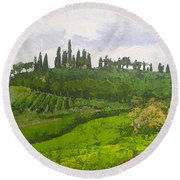 Round Beach Towel featuring the painting Tuscan Villa Hillside by Chris Hobel