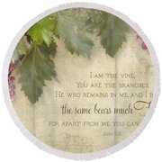 Tuscan Vineyard - Rustic Wood Fence Scripture Round Beach Towel