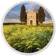 Tuscany Chapel Round Beach Towel