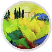 Round Beach Towel featuring the painting Tuscany Colors by Elise Palmigiani