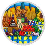 Tuscany Delights Round Beach Towel