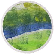 Round Beach Towel featuring the painting Tuscany Garden by Don Koester