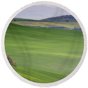 Tuscany Landscape Round Beach Towel by Ana Mireles