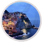 Tuscany Like Amalfi Cinque Terre Evening Lights Round Beach Towel