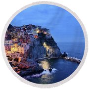 Tuscany Like Amalfi Cinque Terre Evening Lights Round Beach Towel