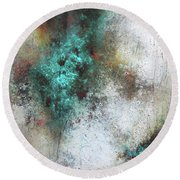 Tuscany Oil And Cold Wax Round Beach Towel by Patricia Lintner