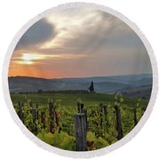 Tuscany Sunset Round Beach Towel