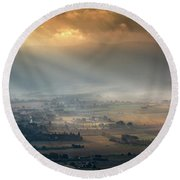 Tuscany Valley  Round Beach Towel