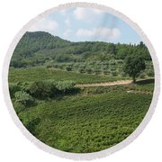 Tuscany Vineyard Round Beach Towel