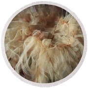 Round Beach Towel featuring the painting Tutu by Judith Desrosiers