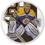 Tuukka Rask Boston Bruins Oil Art 1 Round Beach Towel