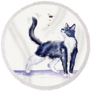 Tuxedo Cat And Bumble Bee Round Beach Towel by Debra Hall