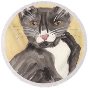 Tuxedo Cat With Attitude Round Beach Towel
