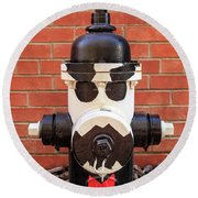 Round Beach Towel featuring the photograph Tuxedo Hydrant by James Eddy
