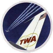 Twa Star Stream Jet - Minimalist Vintage Advertising Poster Round Beach Towel