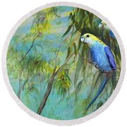 Two Pale-faced Rosellas Round Beach Towel