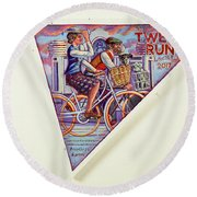 Tweed Run London Princess And Guvnor  Round Beach Towel