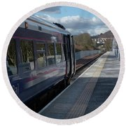 Round Beach Towel featuring the photograph Tweedbank Station - Scotrail by Phil Banks