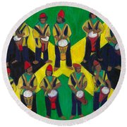 Round Beach Towel featuring the painting Twelve Drummers Drumming by Denise Weaver Ross
