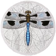 Twelve Spotted Skimmer Round Beach Towel