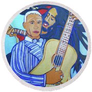 Round Beach Towel featuring the painting Twelve Strings by Denise Weaver Ross