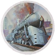 Round Beach Towel featuring the painting Twenthieth Century Limited by Mike Jeffries