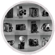 Twenty Old Cameras - Black And White Round Beach Towel