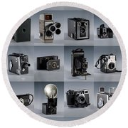 Twenty Old Cameras - Color Round Beach Towel
