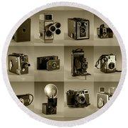 Twenty Old Cameras - Sepia Round Beach Towel