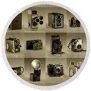 Twenty Old Cameras - Sepia Round Beach Towel