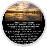 Twenty-third Psalm Prayer Round Beach Towel