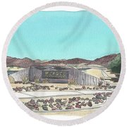 Round Beach Towel featuring the painting Twentynine Palms Welcome by Betsy Hackett