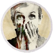 Twiggy Surprised Round Beach Towel by Mihaela Pater