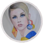 Round Beach Towel featuring the painting Twiggy The 60's Fashion Icon by Kelly Mills